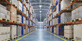 Warehouse or storage and shelves with cardboard boxes. Industrial background. - 247009476