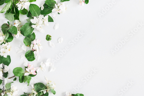 Flowers composition. Apple tree flowers on pastel gray background. Spring concept. Flat lay, top view, copy space - 247010405