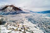 Valtellina (IT) - Sondrio - Frazione Sant'Anna - Mossini e Ponchiera - Vista aerea invernale - 247015436