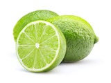 fresh lime fruits isolated on white background