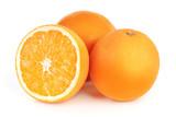 fresh orange fruits isolated on white background