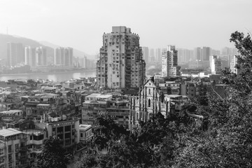 View at the Ruins of St. Paul's Church from the Monte Forte in Macau China