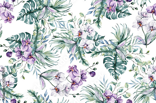 Seamless pattern with watercolor flowers, tropical flowers orchids and leaves for design wedding invitation, greeting, wallpaper, fashion, background, texture, wrapper etc. Hand painting. © Larisa