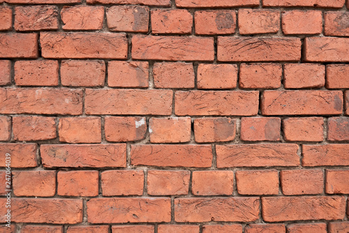 Old red brick wall background texture - 247064039