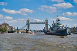 LONDON, UK - SEPTEMBER 9, 2018: Military Cruiser Belfast (HMS Belfast) is the pride of the British fleet moored on the Thames in the very center of London
