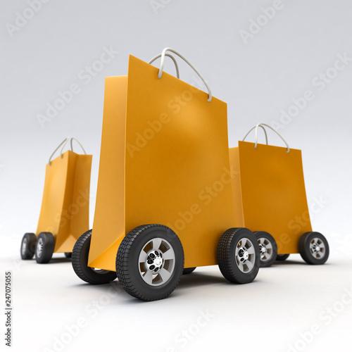 Leinwanddruck Bild Orange shopping bags on wheels