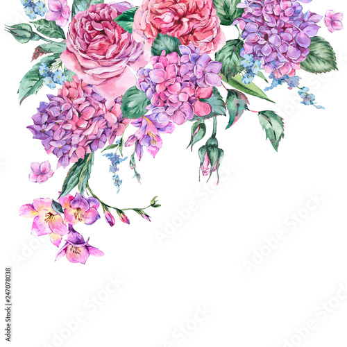 Summer Watercolor Vintage Floral Bouquet with Blooming Hydrangea, Freesia - 247078038