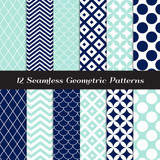 Navy Blue, Aqua and White Retro Geometric Patterns. Elegant Mod Backgrounds in Jumbo Polka Dot, Diamond Lattice, Scallops, Quatrefoil and Chevron. Repeating Pattern Tile Swatches Included. - 247078899