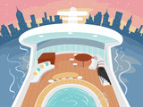 Yacht Aboard Buildings Illustration - 247081050