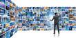 Leinwandbild Motiv Concept of streaming video with businessman