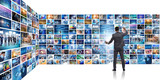 Concept of streaming video with businessman - 247084073