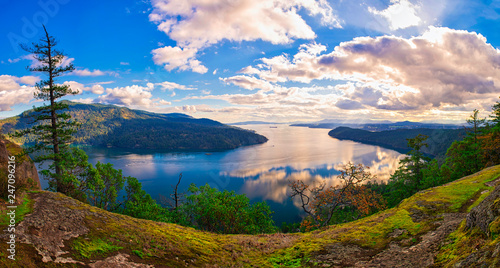 Panoramic view of Maple Bay and Gulf Islands in Vancouver Island, Canada - 247096216