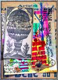Alchimia. Collage di documenti esoterici con asso di coppe dei tarocchi, formule chimiche, e I King
