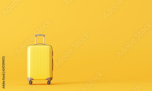 Suitcase on yellow background. travel concept. 3d rendering © aanbetta