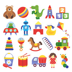 Cartoon toys. Game toy teddy bear dinosaur rocket childrens cubes kite robot. Kids dolls vector collection