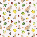 Watercolor seamless pattern with fox and leaves