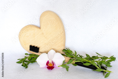 Bamboo toothbrush with heart and flower