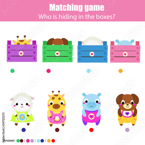 fototapeta na ścianę Educational game for children, kids activity. Match cute animals with boxes
