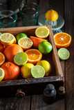 Healthy mix of citrus fruits with on wooden table