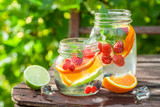 Healthy lemonade with mix of citrus with in summer