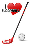 Floorball equipment - realistic vector illustration of ball and stick