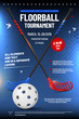 Floorball tournament invitation template with ball and sticks