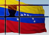 silhouette head behind bars with flag of Venezuela - 247135632
