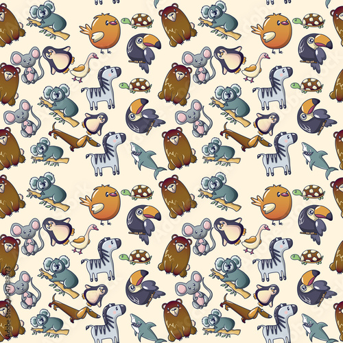 fototapeta na ścianę Cute animal pattern seamless. Cartoon of cute animal vector pattern seamless for web, poster and wrapping paper