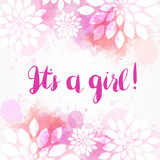 It's a girl watercolor floral background - 247141649
