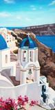Original oil painting on canvas - Sea - Santorini - Greece - Bright romantic colorful seascape - Modern art