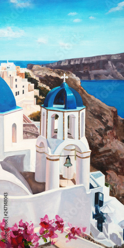 Original oil painting on canvas - Sea - Santorini - Greece - Bright romantic colorful seascape - Modern art © shvets_tetiana