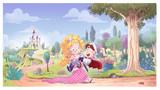Fototapeta Las - princesa salvando a principe con castillo © cirodelia