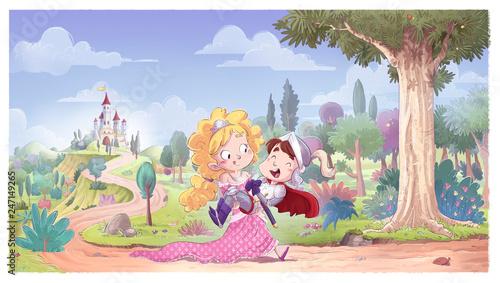 princesa salvando a principe con castillo - 247149265