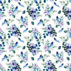 Blue feathers and pink anemone flowers with blooming snowberry twigs watercolor seamless pattern on white background