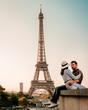 couple men and woman watching sunrise by eiffel tower paris, Eiffel tower Paris