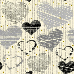 Chalk seamless pattern. Hand-drawn hearts with stripes, lines and dots on a beige background. Romantic raster design. Trend print for fabric and paper.