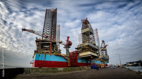 Platforms in Esbjerg offshore oil harbor in Denmark | Buy Photos