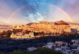 Acropolis of Athens, Greece, with the Parthenon Temple during sunset with rainbow - 247174643