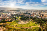 Theatre of Dionysus with sun - view from Acropolis Hill of Athens, Greece - 247174853