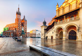 Old city center view with Adam Mickiewicz monument and St. Mary's Basilica in Krakow on the morning - 247175439