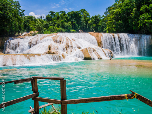 Amazing view of Agua Azul waterfalls in the lush rainforest of Chiapas, Mexico