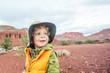 Boy hiking in Capitol reef National park, Utah, USA