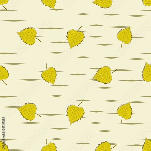 Seamless background with birch leaves. - 247187255