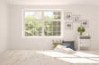 Leinwanddruck Bild - White stylish empty room with summer landscape in window. Scandinavian interior design. 3D illustration