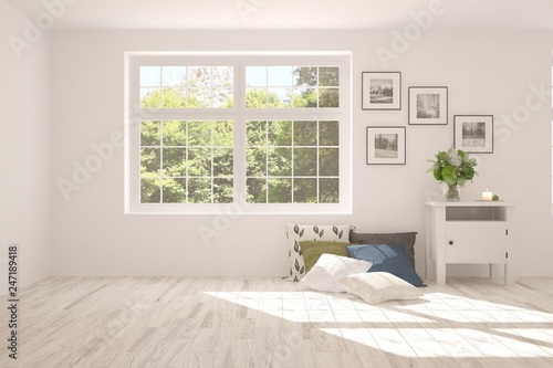 White stylish empty room with summer landscape in window. Scandinavian interior design. 3D illustration - 247189418