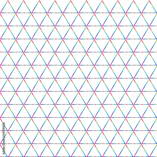 fototapeta na ścianę geometric background of triangles in pink, blue and green on white