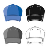 Vector design of headgear and cap symbol. Set of headgear and accessory stock vector illustration.