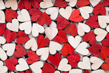 Valentines day background with white end red hearts on wooden background. - 247193417