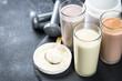 Leinwanddruck Bild - Protein cocktails in glasses, sport nutrition.