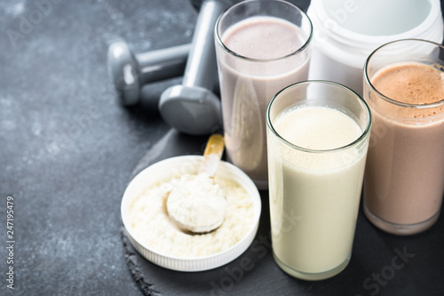 Leinwanddruck Bild Protein cocktails in glasses, sport nutrition.